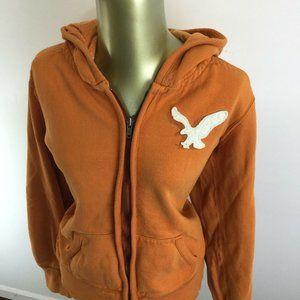 AMERICAN EAGLE Patch Logo Zip Up Orange Hooded